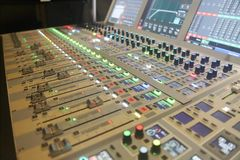 Digital sound board used to mix audio royalty free stock image