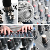 Sound Mixing. A collage of professional sound equipment Stock Image
