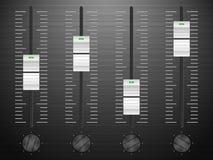 Sound mixing. Black DJ sound mixing console stock illustration
