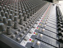 Sound Mixing Board. A Multitude of Buttons and Slider Knobs on an Audio Mixer Control Panel stock images