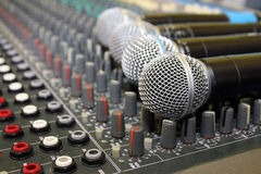 Sound mixing board during a musical performance at. A fair Royalty Free Stock Image