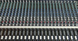 Sound Mixing Console. Close up of a sound mixing console Stock Images