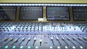 The sound mixing console close-up stock video