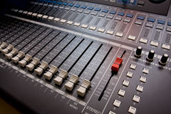Sound mixing console. Royalty Free Stock Image