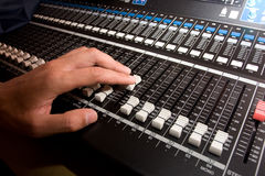 Sound mixing console. Stock Photo
