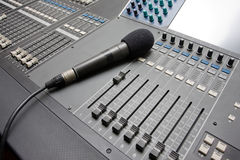Sound mixing console. Royalty Free Stock Photo