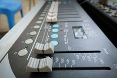 Sound mixing console. Or Sound mixer controller Royalty Free Stock Photography