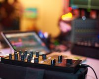 Sound mixing controller for hip hop dj to scratch records,mix live music tracks at night party. Stock Images