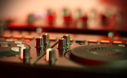Sound mixing controller for hip hop dj to scratch records,mix live music tracks at night party. Royalty Free Stock Images