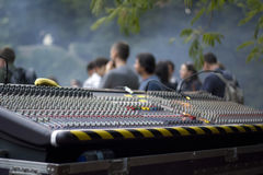 Sound mixing desk outdoors. Festival Royalty Free Stock Photo