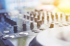 Sound Mixing. DJ Sound Mixing panel in studio Royalty Free Stock Image
