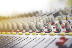 Sound Mixing. DJ Sound Mixing panel in studio Stock Photography