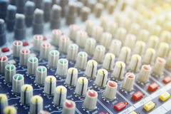 Sound Mixing. DJ Sound Mixing panel in studio Royalty Free Stock Images