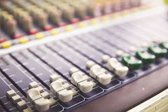 Sound Mixing. DJ Sound Mixing panel in studio Royalty Free Stock Photo