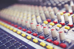 Sound Mixing. DJ Sound Mixing panel in studio Royalty Free Stock Photography