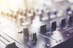 Sound Mixing. DJ Sound Mixing panel in studio Royalty Free Stock Photos