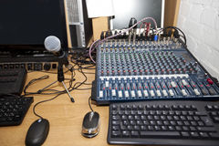 Sound mixing equipment at television station Stock Image