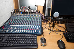 Sound mixing equipment at television station Stock Photography