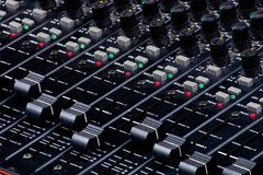 Sound Mixing Faders. Sound Console Mixing Faders royalty free stock image