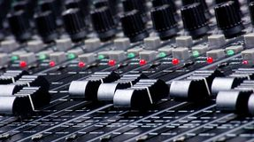 Sound Mixing Faders. Sound Console Mixing Faders stock photography