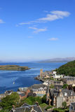 Sound of Mull, Kerrera, Lismore from Oban, Argyll. View from McCaig's Tower above Oban, Argyll, Scotland looking North West across Oban Bay towards NE end Stock Photo