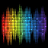 Sound of Music. Abstract music inspired graphic equalizer background with rainbow colours. Vector illustration Stock Images