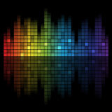 Sound of Music. Abstract music inspired graphic equalizer background with rainbow colours. Vector illustration Royalty Free Stock Images