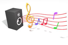 Sound of Music. Streaming music notes come from the sound system vector illustration