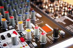 Sound music mixer control panel Royalty Free Stock Images
