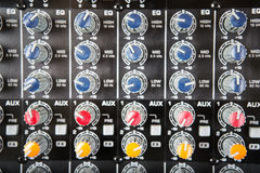 Sound music mixer control  panel. Mixer, sequencer. Background Royalty Free Stock Photography