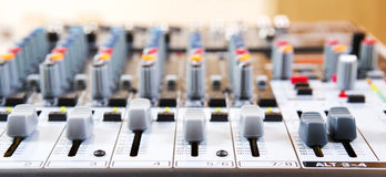 Sound music mixer control  panel. Royalty Free Stock Images