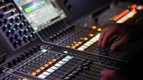 Sound music mixer desk close up, video HD. Live concert, Sound music mixer desk close up, video HD stock video footage