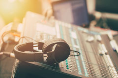 Sound music mixer. With headphone morning scene Stock Photo