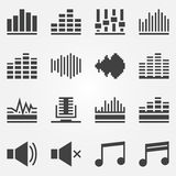 Sound or music sound wave icons vector set Royalty Free Stock Photos