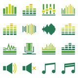 Sound or music soundwave flat green icons Stock Photos