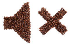 Sound OFF. shape made of coffee beans over white background Royalty Free Stock Photos