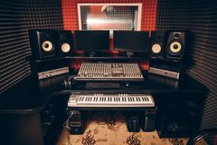 Sound operetor`s room with modern device for recording the music stock photography