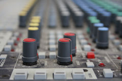 Sound panel. Buttons equipment in audio recording studio of the colour Royalty Free Stock Images