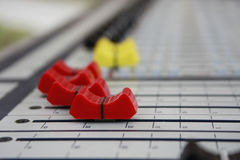 Sound panel. Buttons equipment in audio recording studio of the colour Royalty Free Stock Photo
