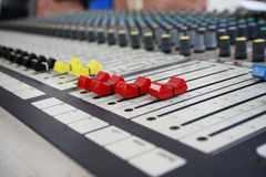 Sound panel. Buttons equipment in audio recording studio of the colour Royalty Free Stock Photography