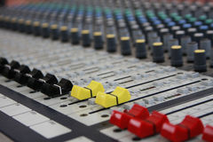 Sound panel. Buttons equipment in audio recording studio of the colour Stock Photo