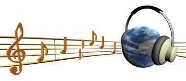 Sound and planet Royalty Free Stock Photo