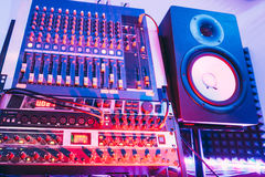 Sound producer audio controller. Dj studio system Stock Image