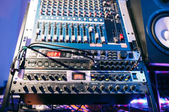Sound producer audio controller. Dj studio system Royalty Free Stock Photos