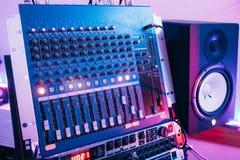 Sound producer audio controller. Dj studio system Royalty Free Stock Image