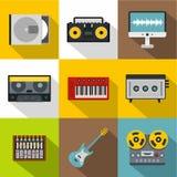 Sound producing icon set, flat style Stock Photo