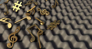 Sound Proof Foam And Musical Symbols Stock Photo