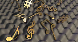 Sound Proof Foam And Musical Symbols Stock Image