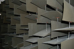Sound proofing. Soft material used to significantly reduce noise in an anechoic soundproof room Stock Image