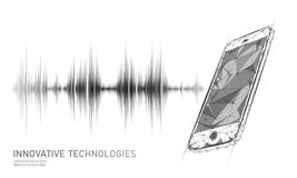 Sound recognition voice assistant low poly smartphone. Wireframe mesh polygonal 3D render sound innovative technology stock illustration